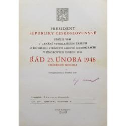 Dekret - Řád 25. února 1948 - stříbrná medaile