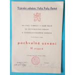 """Pochvalné uznání IV. stupně - Vojenské velitelství Velké Prahy """"Bartoš"""""""