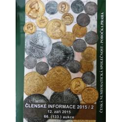 Aukční katalog ČNS Praha č.66 , mince , medaile , bankovky , řády - 2015