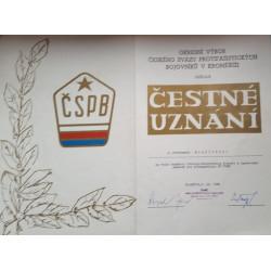 Čestné uznání - ČSPB - Český Svaz Protifašistických Bojovníků