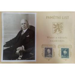 ČSR Pamětní list - E.Beneš , TGM , Jan Masaryk 1948