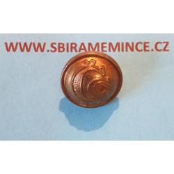 Četnictvo - Knoflík na uniformu - uniformní knoflík - mořený ČS - WALDES a spol Praha - průměr 15mm