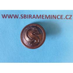 Finanční stráž - Knoflík na uniformu - uniformní knoflík - mořený ČS - SUPERIOR - průměr 15mm