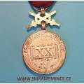 Stříbrná záslužná služební medaile NSG za XX. let služby 1945-1949 s meči