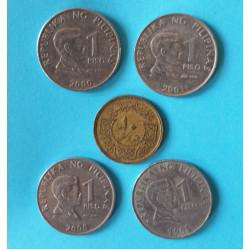 Filipíny - 1 Piso 1995, 2000, 2001 - Sýrie 10 Piastr 1974 - celkem 5 ks