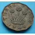 Anglie 3 pence Georgius VI. 1944