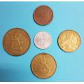 Finsko penni 1976, 5 penniä1975, 10 penniä 1972, 20 penniä1976, 50 penniä 1979 - 5ks