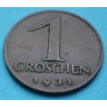 Rakousko 1 groschen 1931 - Cu - vzácný - R