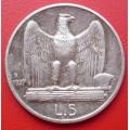 Itálie 5 lir 1927 R - Vitorio Emanuel - Ag