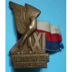 """Sokol - odznak XI. Všesokolský slet v Praze 1948 zn.""""Mincovna Kremnica"""""""