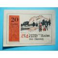 Rakousko Guttschein 20 Heller St. Lorenz am Mondsee 31.10.1920